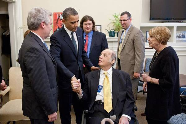 History Poster featuring the photograph President Obama Greets James Brady by Everett