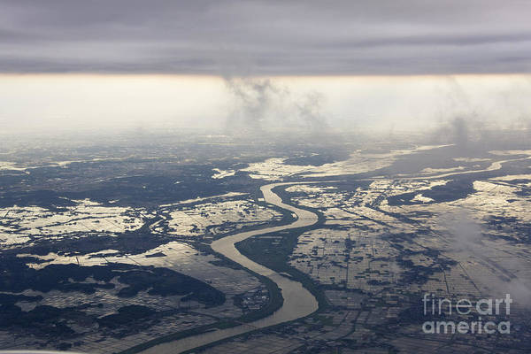 Aerial Poster featuring the photograph River Running Through A Flooded Countryside by Jeremy Woodhouse