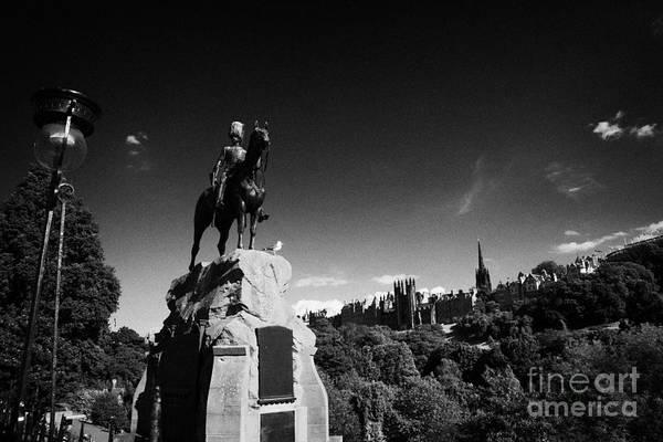 Princes Poster featuring the photograph Royal Scots Greys Boer War Monument In Princes Street Gardens Edinburgh Scotland Uk United Kingdom by Joe Fox