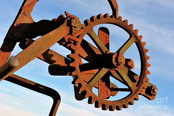 Gear Poster featuring the photograph Rusty Gears Mechanism by Sami Sarkis