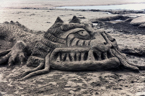 Sand Poster featuring the photograph Sand Dragon Sculputure by Garry Gay