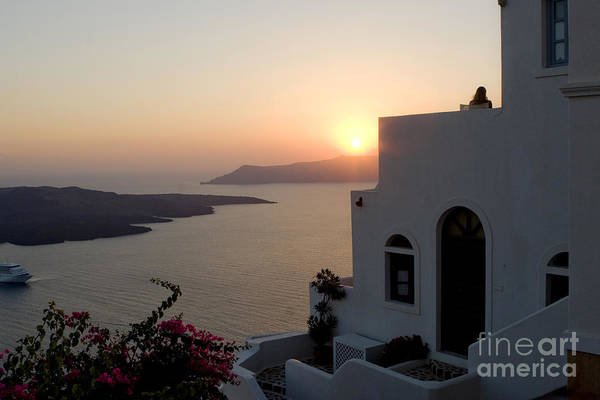 Santorini Poster featuring the photograph Santorini Sunset by Leslie Leda
