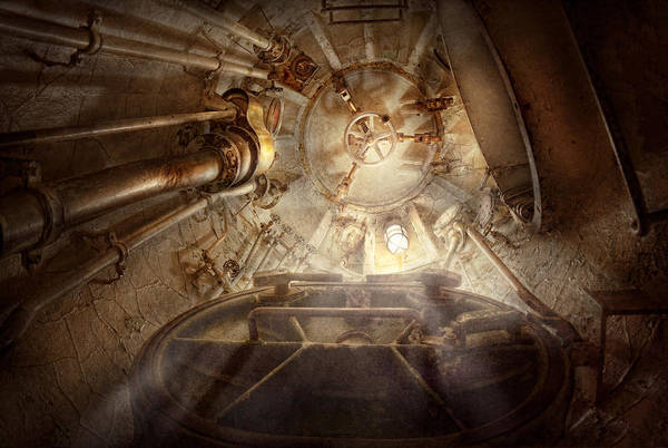 Steampunk Poster featuring the photograph Steampunk - Naval - The Escape Hatch by Mike Savad