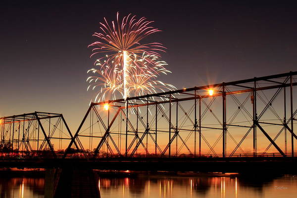 Bridge Poster featuring the photograph Sunset And Fireworks by Deborah Crew-Johnson