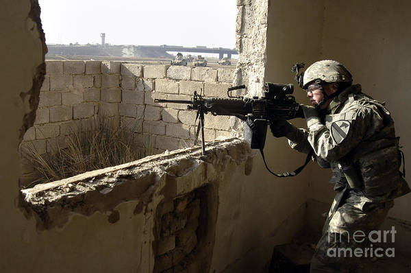 Operation Iraqi Freedom Poster featuring the photograph U.s. Army Soldier Searching by Stocktrek Images