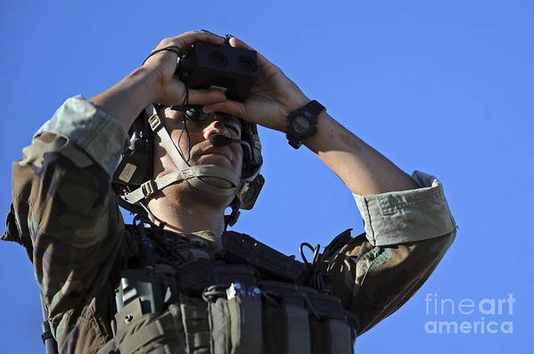 Military Poster featuring the photograph U.s. Special Operations Soldier Looks by Stocktrek Images