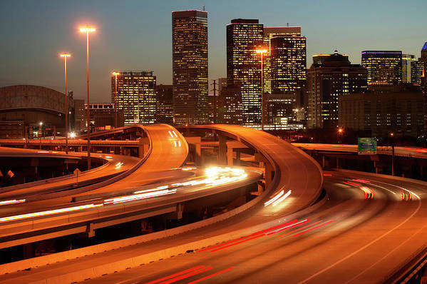 Horizontal Poster featuring the photograph Usa, Texas, Houston City Skyline And Motorway, Dusk (long Exposure) by George Doyle