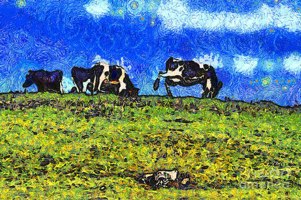Cow Poster featuring the photograph Van Gogh Goes Cow Tipping 7d3290 by Wingsdomain Art and Photography