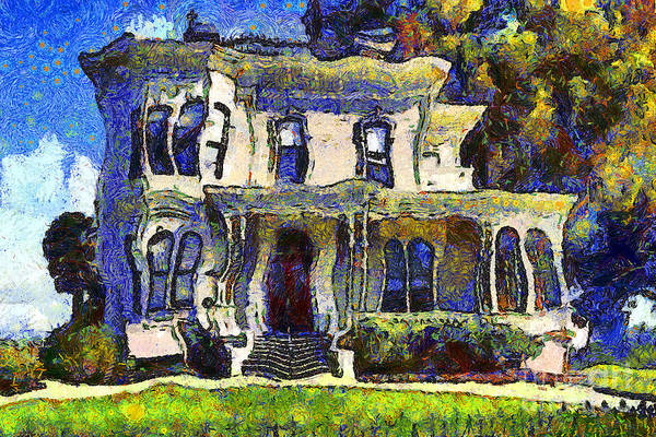 Vangogh Poster featuring the photograph Van Gogh Visits The Old Victorian Camron-stanford House In Oakland California . 7d13440 by Wingsdomain Art and Photography