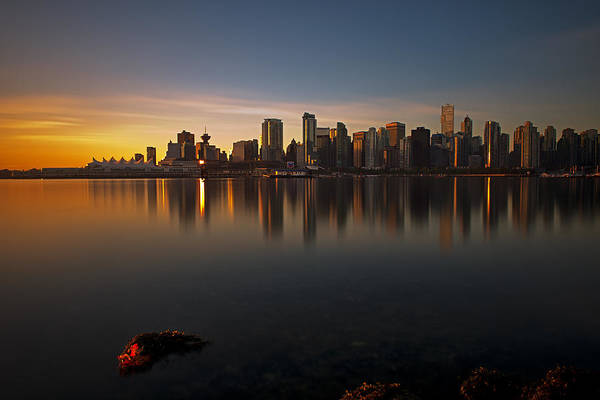Golden Sunrise Poster featuring the photograph Vancouver Golden Sunrise by Jorge Ligason