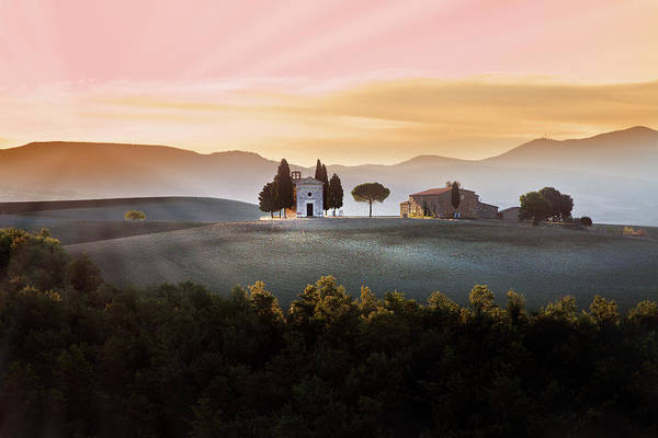 Horizontal Poster featuring the photograph Vitaleta Chapel At Sunset by Jova photo