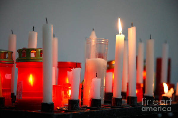 Candles Poster featuring the photograph Votive Candles by Gaspar Avila