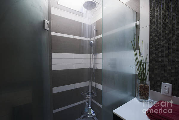Bathroom Poster featuring the photograph Water Turned On In A Shower by Marlene Ford