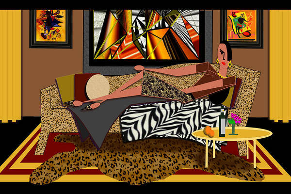 Interiors Poster featuring the digital art Woman On A Chaise Lounge by Jann Paxton