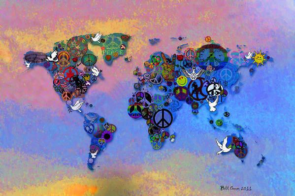 World Peace Tye Dye Poster featuring the drawing World Peace Tye Dye by Bill Cannon
