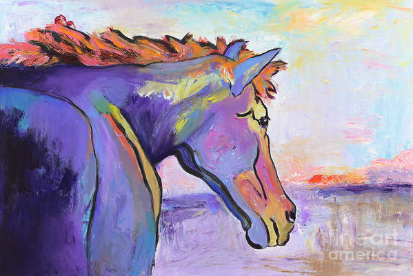 Purple Horse Poster featuring the painting Frosty Morning by Pat Saunders-White