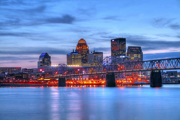 Blue Poster featuring the photograph Louisville Kentucky by Darren Fisher