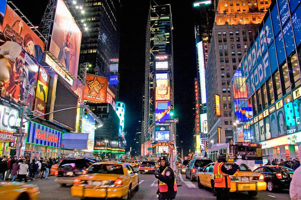 Times Square Poster featuring the photograph Times Square by June Marie Sobrito