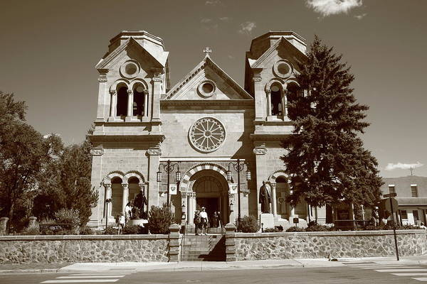 America Poster featuring the photograph Santa Fe - Basilica Of St. Francis Of Assisi by Frank Romeo