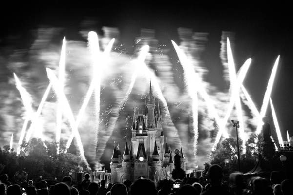 Abstract Poster featuring the photograph Disney Castle At Night by Fizzy Image