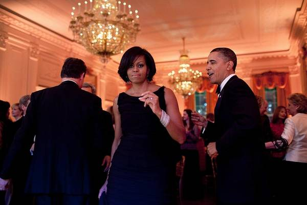 History Poster featuring the photograph President And Michelle Obama Dance by Everett