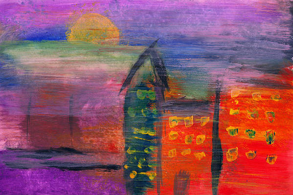 Abstract Poster featuring the photograph Abstract - Acrylic - Lost In The City by Mike Savad