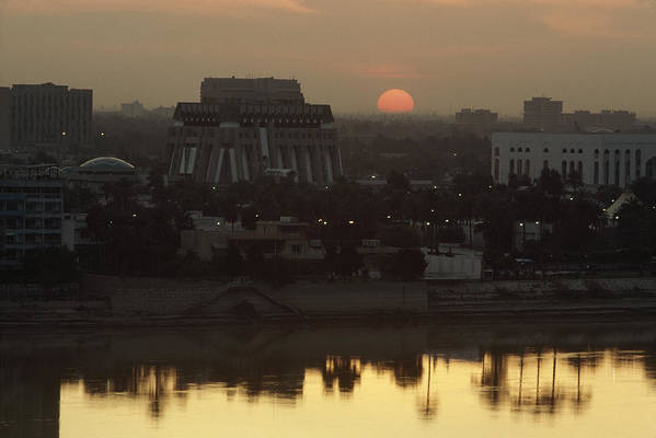 Sunset Poster featuring the photograph Baghdad And The Tigris River At Sunset by Lynn Abercrombie