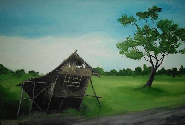 Nipa Hut Poster featuring the painting Bahay Kubo by Robert Cunningham