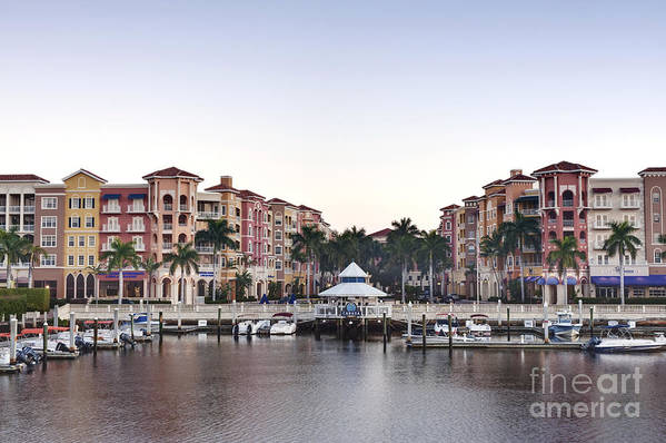 Architectural Detail Poster featuring the photograph Bayfront Shopping Center And Marina by Rob Tilley