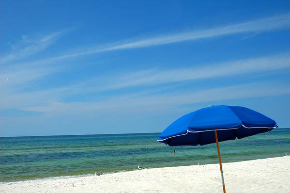 Beach Scenes Poster featuring the photograph Beach Umbrella by Susanne Van Hulst