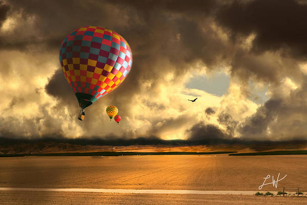 Hot Air Balloon Ride Poster featuring the photograph Blue Skies Ahead by Artist and Photographer Laura Wrede