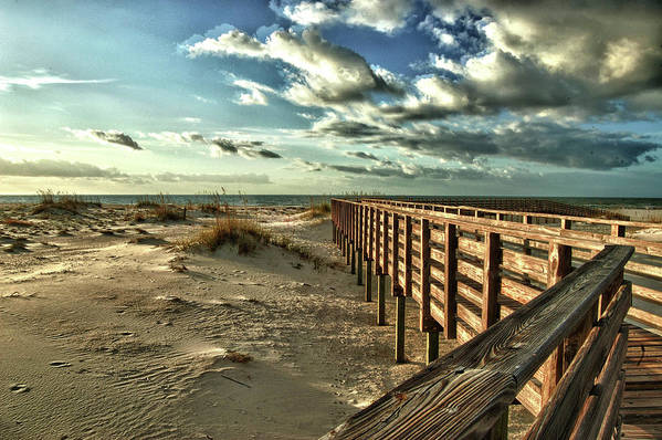 Alabama Photographer Poster featuring the digital art Boardwalk On The Beach by Michael Thomas