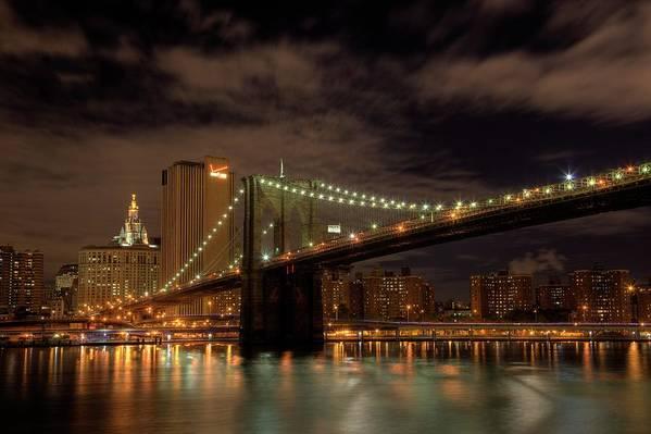 Brooklyn Bridge Poster featuring the photograph Brooklyn Bridge At Dusk by Shawn Everhart