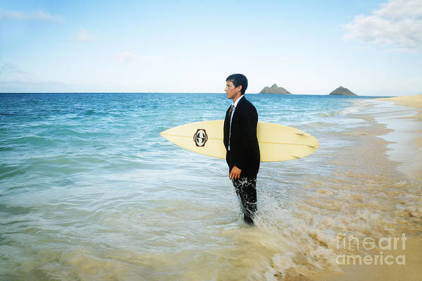 Active Poster featuring the photograph Business Man At The Beach With Surfboard by Brandon Tabiolo - Printscapes