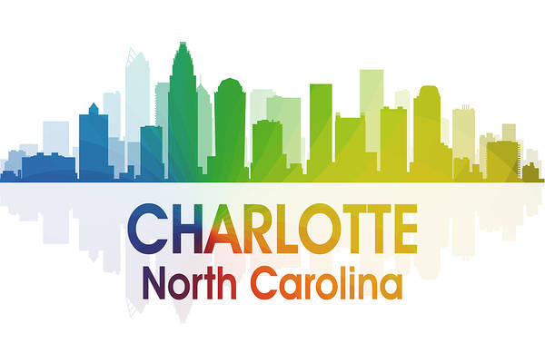 City Silhouette Poster featuring the digital art Charlotte Nc by Angelina Vick