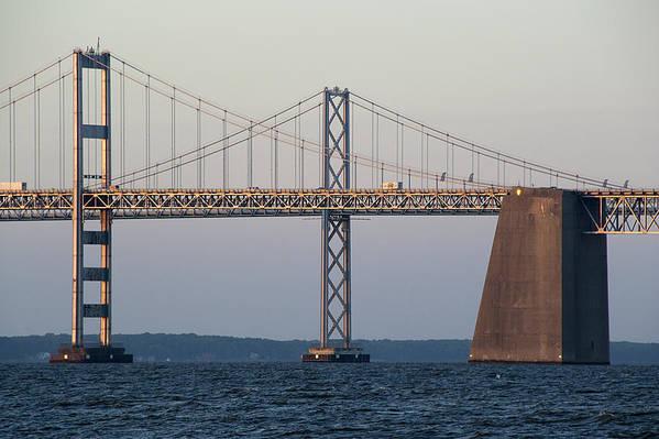 Chesapeake Poster featuring the photograph Chesapeake Bay Bridge - Maryland by Brendan Reals