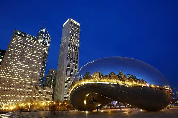 Outdoors Poster featuring the photograph Cloud Gate The Bean Sculpture In Front by Axiom Photographic