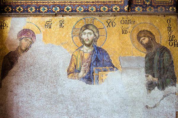 Art Poster featuring the photograph Deesis Mosaic Of Jesus Christ by Artur Bogacki