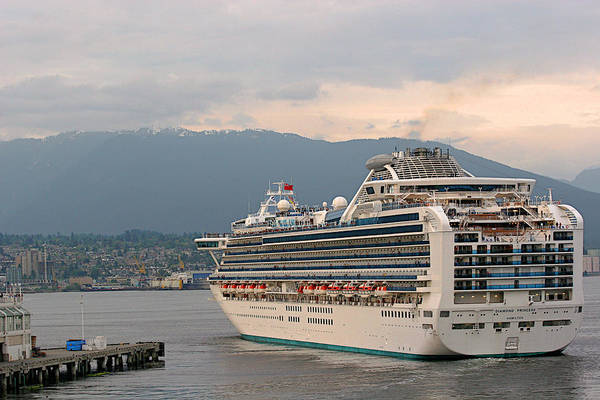 Cruise Poster featuring the photograph Diamond Princess Leaving Vancouver British Columbia Canada by Christine Till