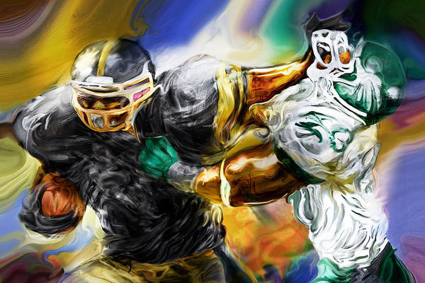 Football Poster featuring the painting Downtown Express by Mike Massengale