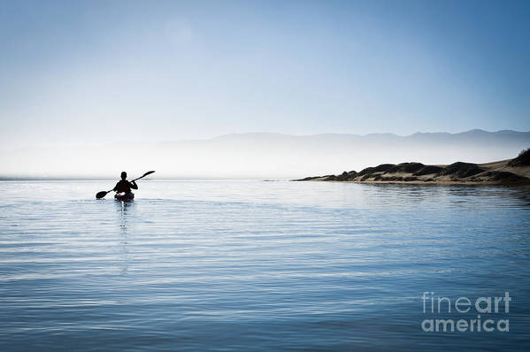 Active Poster featuring the photograph Faraway Kayaker In Morro Bay by Bill Brennan - Printscapes