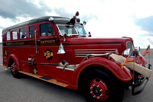 Usa Poster featuring the photograph Fire Truck Selfridge Michigan by LeeAnn McLaneGoetz McLaneGoetzStudioLLCcom