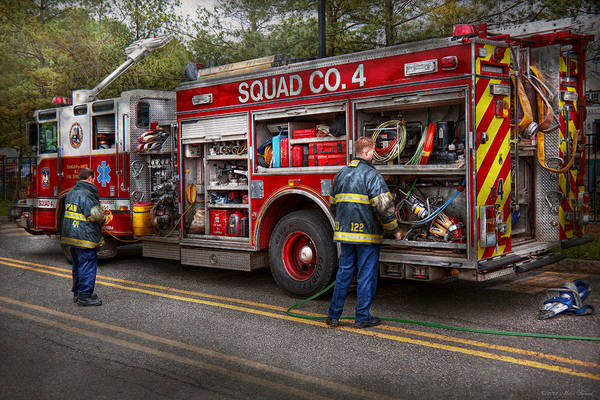 Firemen Poster featuring the photograph Firemen - The Modern Fire Truck by Mike Savad