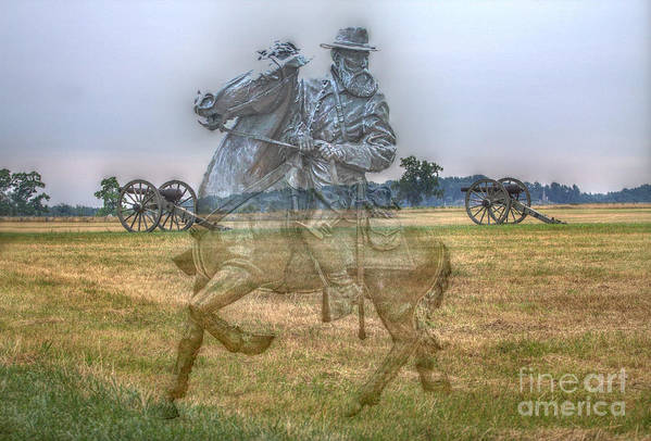 Gray Ghost Poster featuring the digital art Ghost Of Gettysburg by Randy Steele