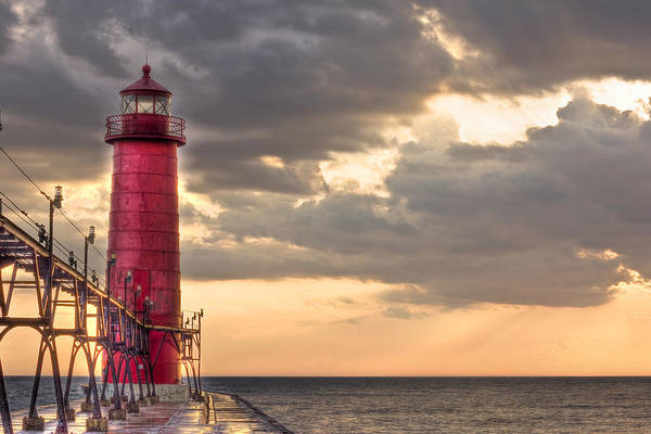 Lighthouse Poster featuring the photograph Grand Haven Lighthouse Hdr by Jeramie Curtice
