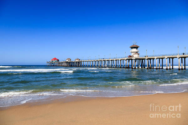 America Poster featuring the photograph Huntington Beach Pier In Orange County California by Paul Velgos
