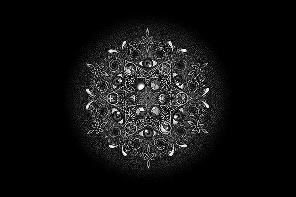 Mandala Poster featuring the drawing Inclusion by Matthew Ridgway