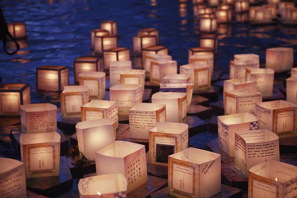 Ala Moana Poster featuring the photograph Lantern Floating Ceremony by Brandon Tabiolo - Printscapes