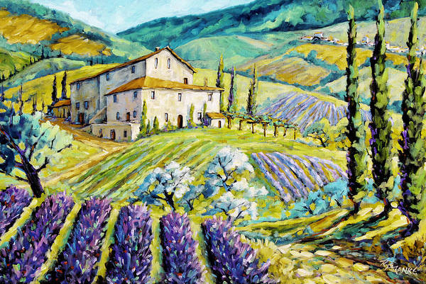 Canadian Artist Painter Poster featuring the painting Lavender Hills Tuscany By Prankearts Fine Arts by Richard T Pranke