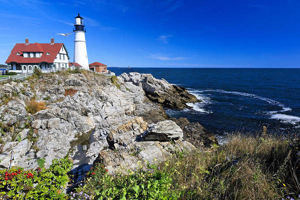 Architecture Poster featuring the photograph Lighthouse At Cape Elizabeth by George Oze